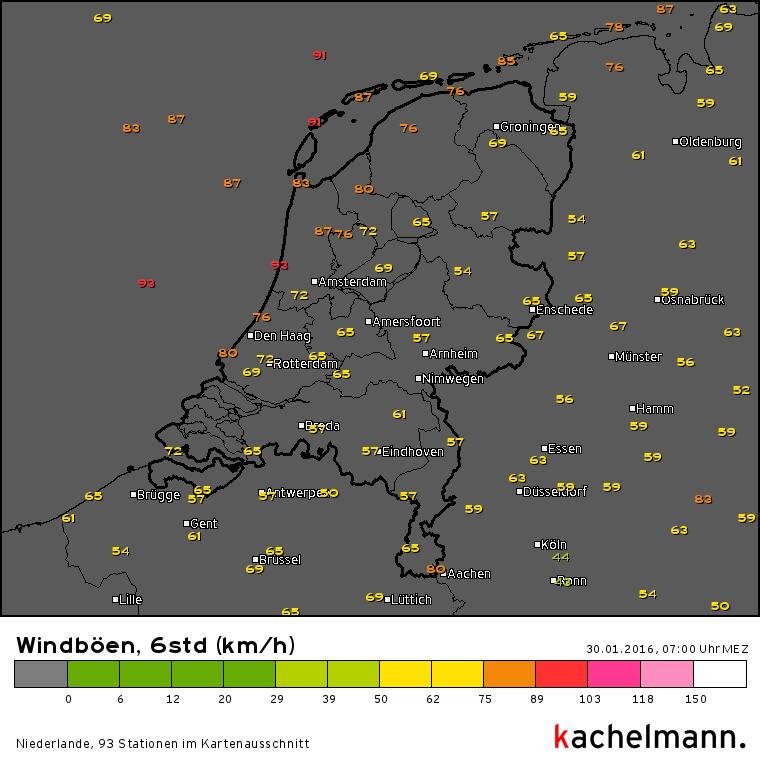 Flinke windstoten afgelopen nacht. Bron: Kachelmannwetter.com