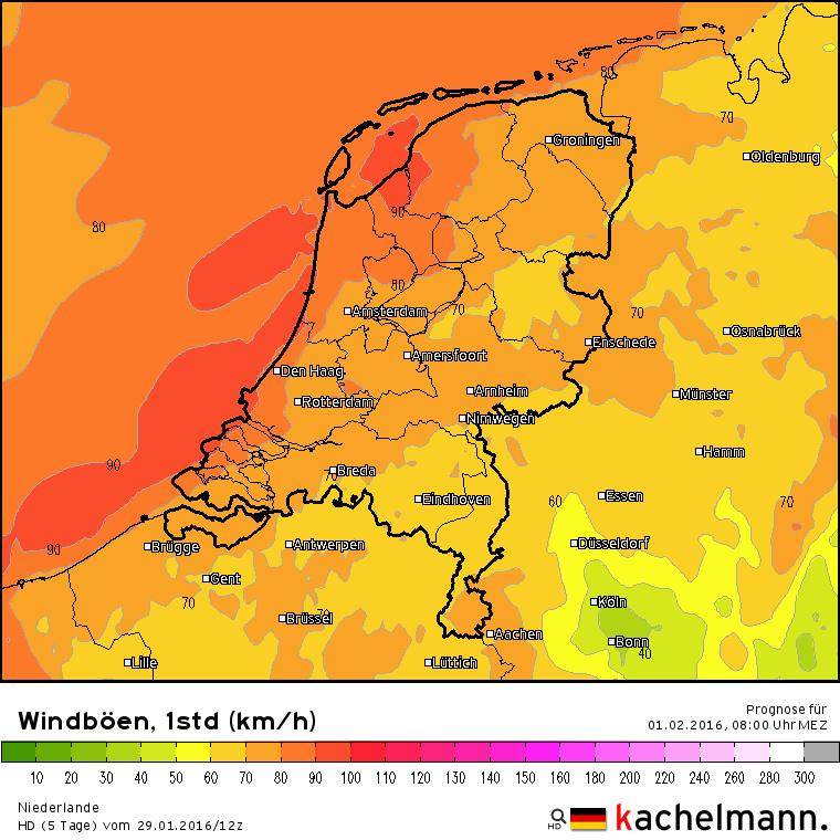De wind neemt weer toe en daarmee ook de kans op zware windstoten. Maandagochtend komen er aan zee stoten voor tot 90 km/uur. Bron: Kachelmannwetter.com