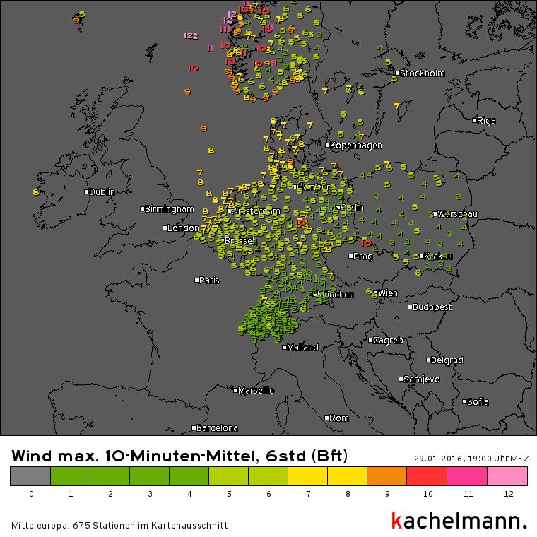 Stormdepressie Marita zorgde voor orkaanwinden aan de kust van Noorwegen. Bron: Kachelmannwetter.com
