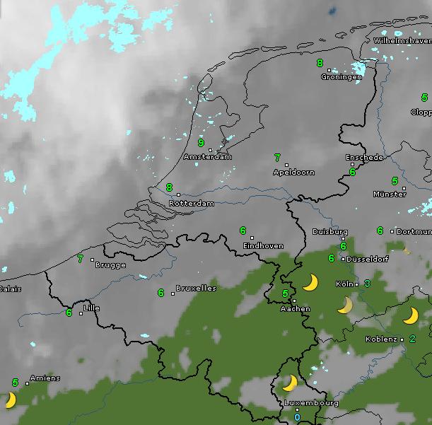 Radar- en satellietbeeld van vanochtend 7 uur. De bewolking neemt toe en hier en daar valt wat lichte regen of motregen. Bron: WetterOnline.de