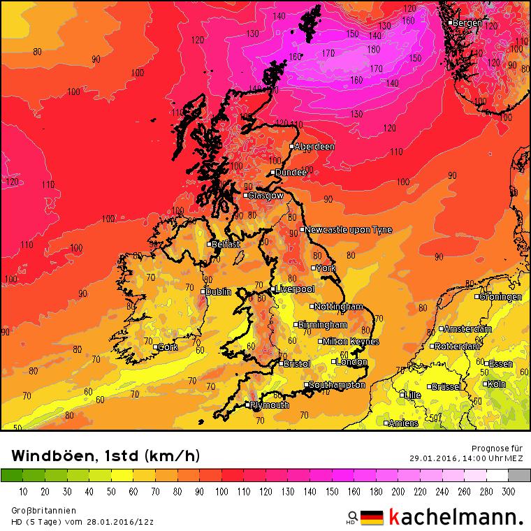 Bij ons zware windstoten tot 80/90 km/uur, maar net ten zuiden van depressie Marita in het zeegebied tussen Schotland en Noorwegen worden orkaanstoten van 180 km/uur verwacht. Bron: Duitse HD model via Kachelmannwetter.com