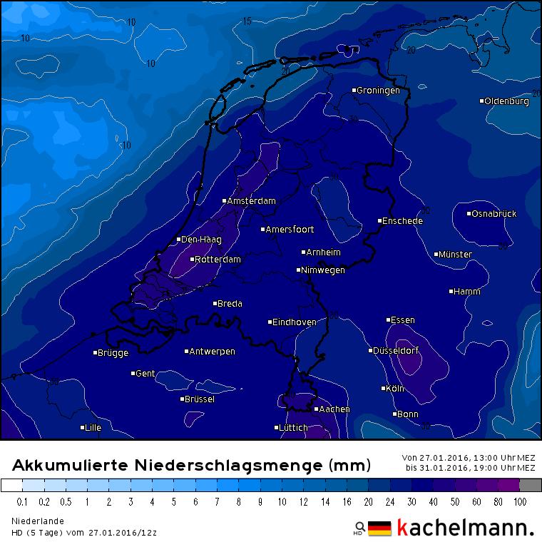 Het verwachte aantal millimeters voor de rest van deze maand. Bron: Duitse HD model via Kachelmannwetter.com