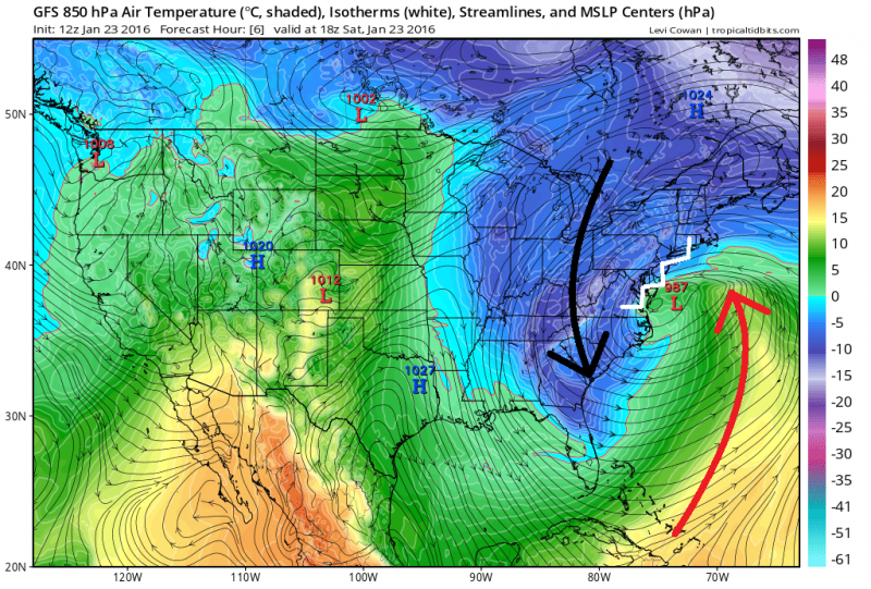 Temperatuur op 1500 meter hoogte op zaterdag 23 januari en luchtdruk