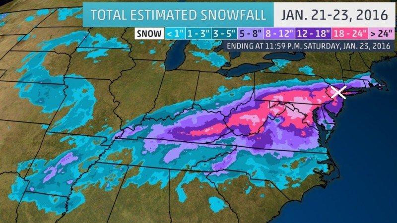 De sneeuwdump die Jonas gaf tussen 21 en 23 januari. De hoeveelheden zijn weergegeven in inches, 1 inch is ongeveer 2,5 cm.