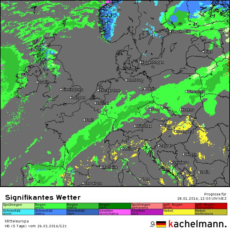 Het verwachte weerbeeld voor morgenmiddag. Bron: Duitse HD model via Kachelmannwetter.com
