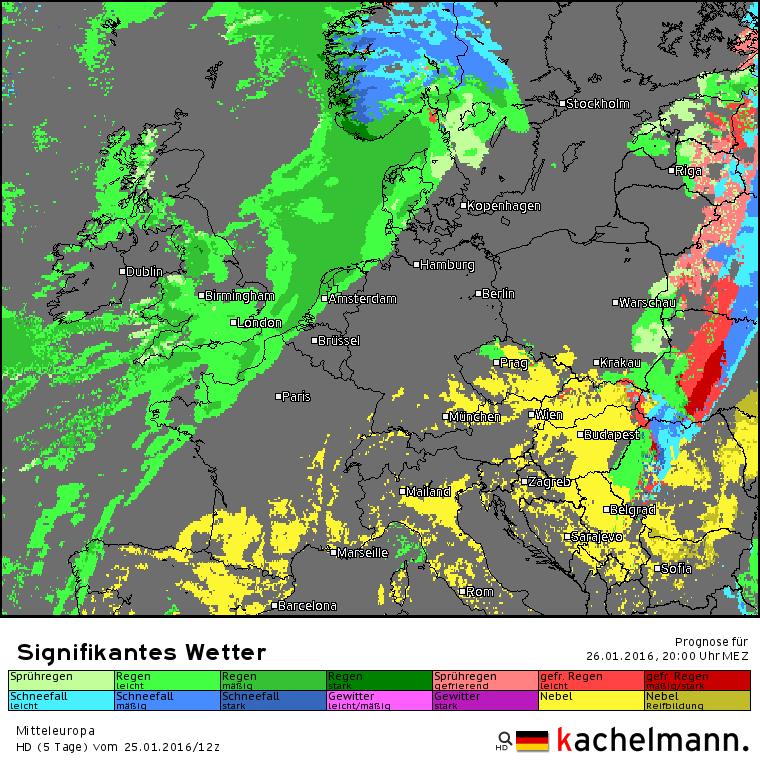 Het verwachte weerbeeld voor vanavond 20 uur Een flink regengebied (groen) ligt klaar om over onze streken te trekken. Bron: Duitse HD model via Kachelmannwetter.com