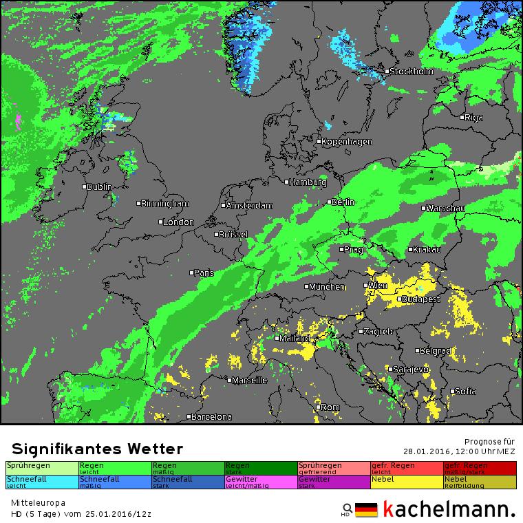 Na nachtelijke regen is het donderdag droog. Bron: Kachelmannwetter.com
