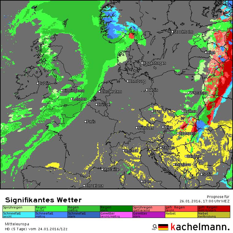 De verwachte kaart voor morgenmiddag 17 uur met het te verwachten weerbeeld. Een flink regengebied ligt klaar om over onze streken te trekken. Bron: Duitse HD model via Kachelmannwetter.com