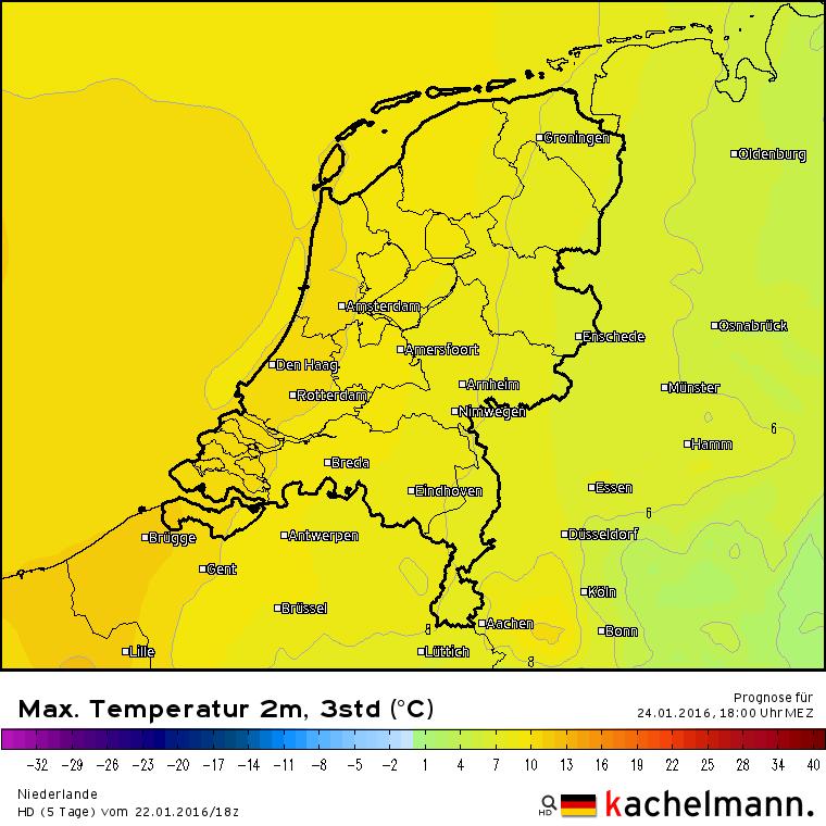 De verwachte maxima voor morgen. Over het westen van het land ligt de 10° grens. In het oosten is het een graad of 7. Bron: HD model via Kachelmannwetter.com