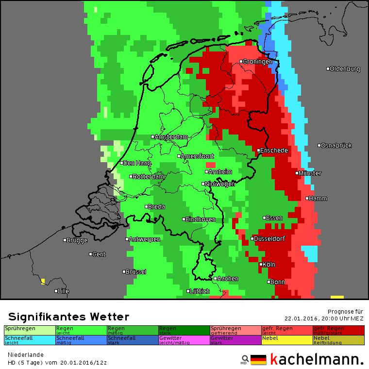 Vanavond om 20 uur regent het in een groot deel van het land en in het oosten en noordoosten komt ijzel voor. In Zeeland is het weer droog geworden. Bron: Kachelmannwetter.com