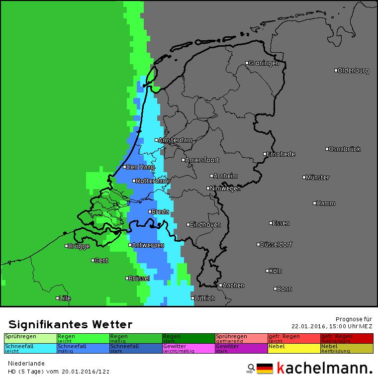 De neerslagverwachting volgens het Duitse HD model. Rond 15 uur valt er in het westen sneeuw, overgaand in regen met kans op ijzel. Bron: Kachelmannwetter.com