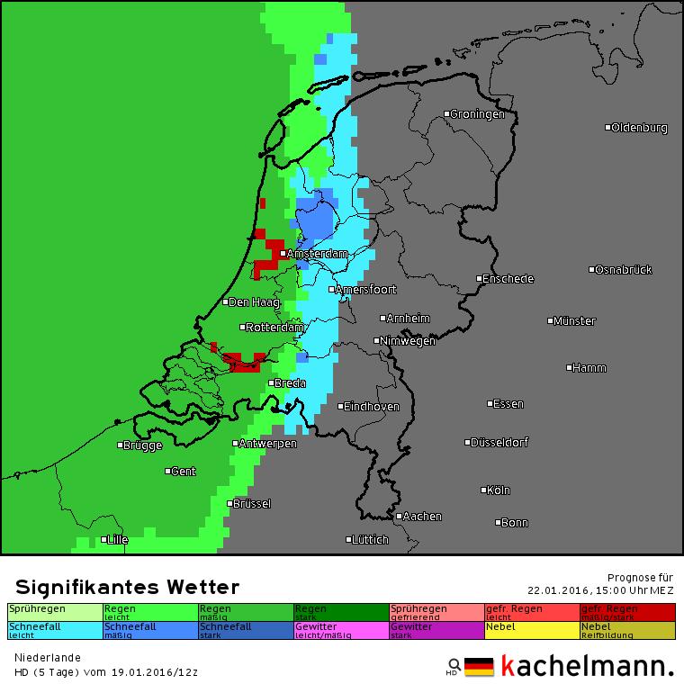 neerslagverwachting vrijdagmiddag 15 uur volgens het Duitse HD model. Bron: Kachelmannwetter.com