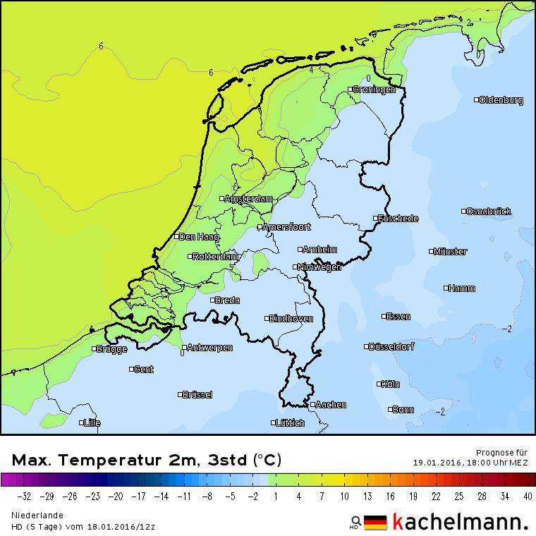 De verwachte maxima van vandaag. Ten oosten van de lijn Antwerpen via Amersfoort naar Groningen blijft het vriezen. Bron: het Duitse HD model via Kachelmannwetter.com