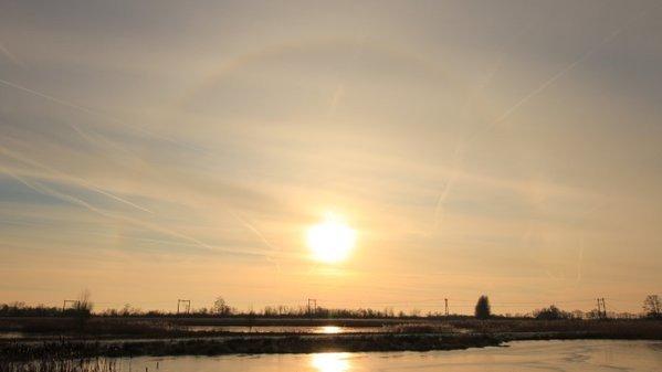 Zonneschijn en cirrus. Mooie combinatie voor halo's. Martin Vye maakte deze fraaie foto.