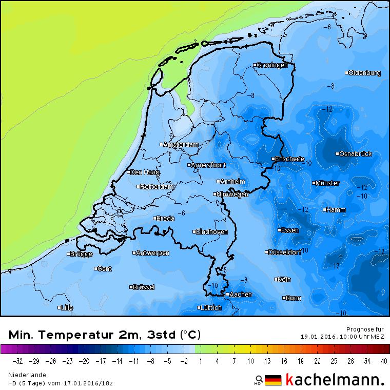 De verwachte minima voor komende nacht van het HD model van onze oosterburen. Vooral in het oosten van het land is strenge vorst mogelijk. Bron: Kachelmannwetter.com