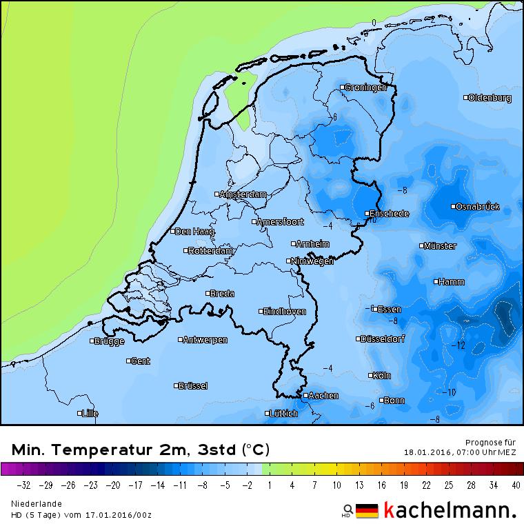 De temperatuur daalt komende nacht flink. In het oosten kan het lokaal -10° worden. Bron: het Duitse HD model via Kachelmannwetter.com