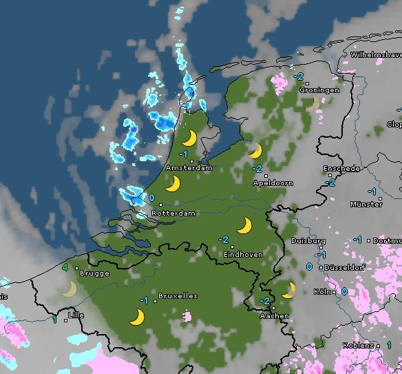 Radar- en satellietbeeld van vanochtend 8:45 uur. Bron: WetterOnline.de