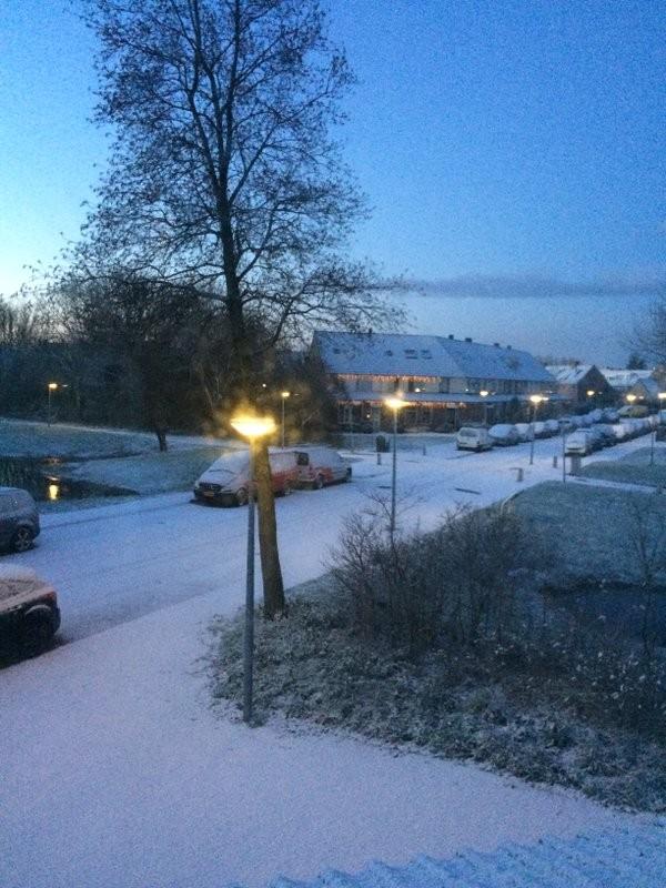 Ook in Noord-Holland een witte wereld vanochtend. Deze foto maakte AWM collega Esther van der Plaat.