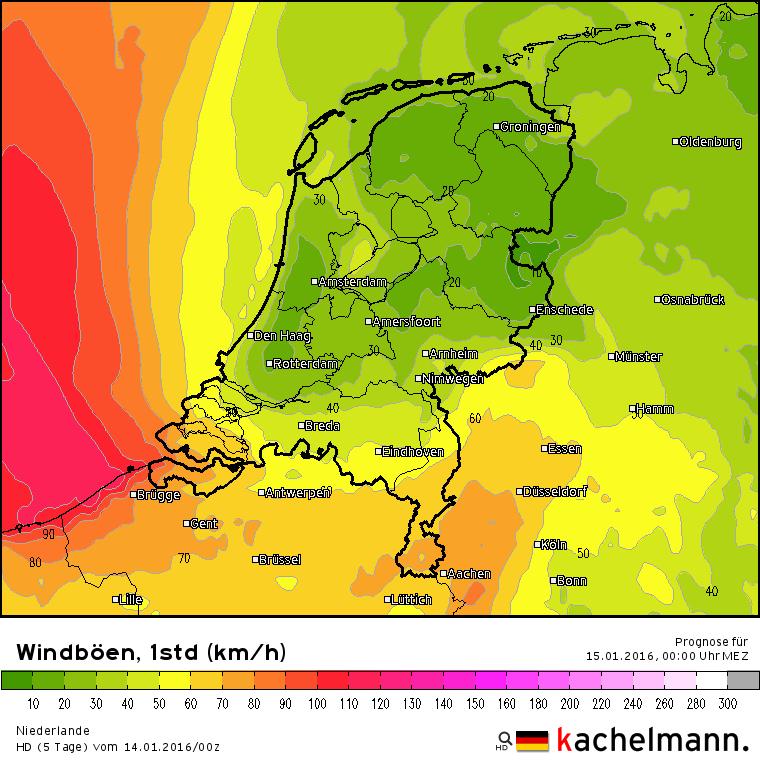 Vanavond neemt de wind flink in kracht toe met kans op zware tot zeer zware windstoten tot meer dan 100 km/uur. Vooral langs de Vlaamse kust komen stoten voor tot 110 km/uur.