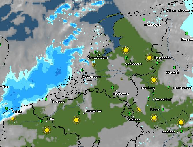 Radar- en satellietbeeld van vanochtend 10 uur. Bron: WetterOnline.de