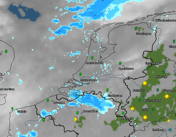 Radar- en satellietbeeld van 9.30 uur. Bron: WetterOnline.de
