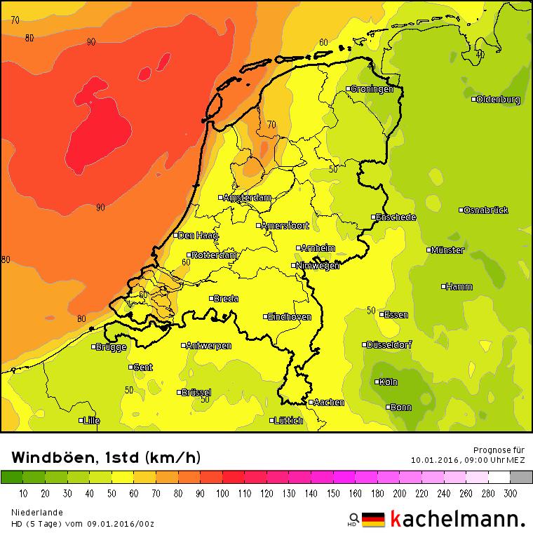 Met name morgenochtend is er in het noordwestelijk kustgebied kans op zware windstoten tot zo'n 90 km/uur. Bron: Duitse HD model via Kachelmannwetter.com