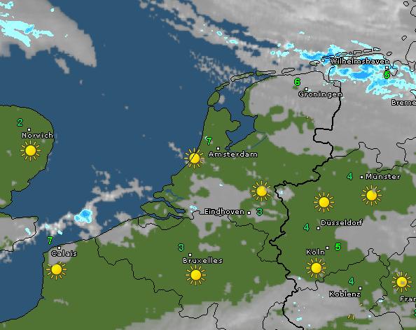 Radar en satellietbeeld van vanochtend 10 uur. Bron: WetterOnline.de
