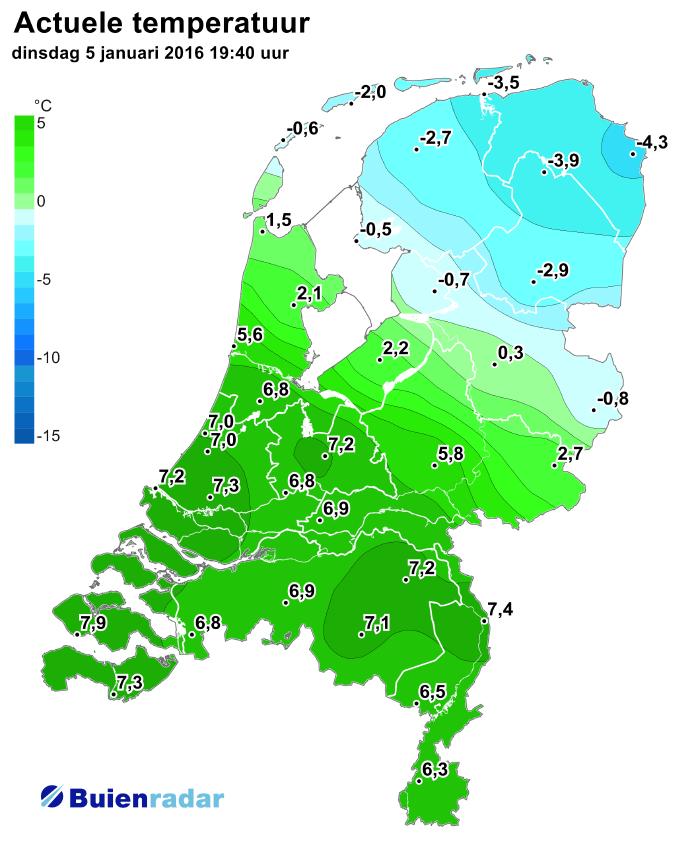 Winter en lente in Nederland op een dag. Bron: Buienradar.