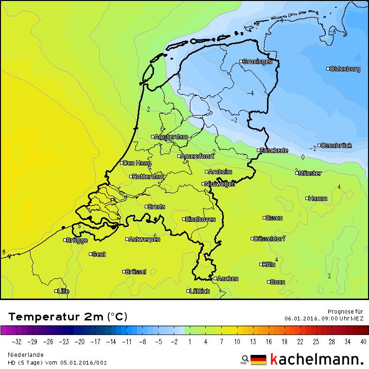 volgens het HD model van onze oosterburen blijft de vorst in het noordoosten van het land. Afwachten dus... Bron: Kachelmannwetter.com