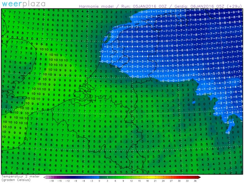 Verwachte temperaturen voor morgenochtend 6 uur volgens het Harmonie weermodel. Bron: Weerplaza.nl