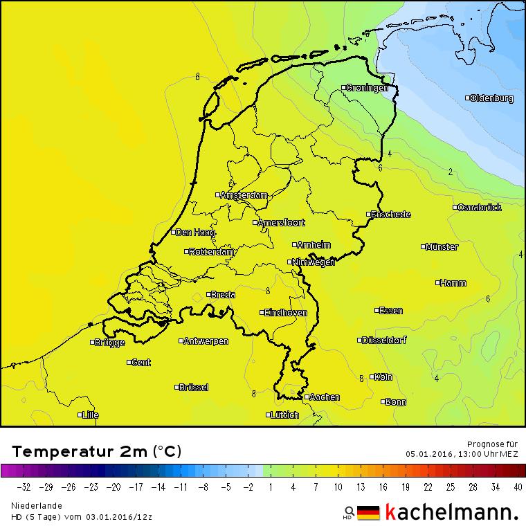Volgens het HD model van de Deutsche Wetterdienst heeft de vorst morgenmiddag om 13 uur het land zo goed als verlaten. In de daaropvolgende nacht keert de vorst weer terug. Bron: Kachelmannwetter.com