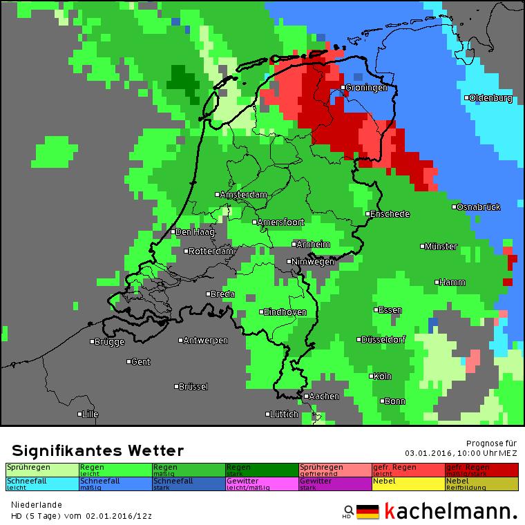 Vandaag is er kans op winterse neerslag in het noordoosten van het land. Naast sneeuw is er ook kans op ijsregen. Bron: Kachelmannwetter.com