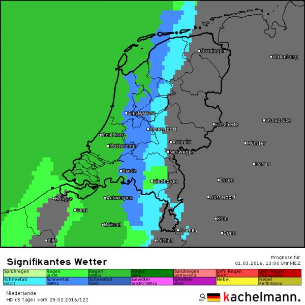 Om 13 uur is de sneeuw in het westen al overgegaan in regen. Bron: HD model Kachelmannwetter.com