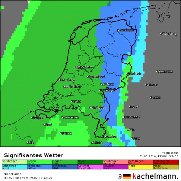 Om 15 uur sneeuwt het in de oostelijke helft. Elders valt regen. Bron: HD model Kachelmannwetter.com