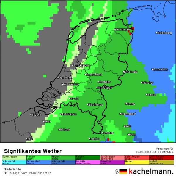 De sneeuw heeft het land rond de klok van 18 uur weer verlaten. In het westen wordt het geleidelijk weer droog. Bron: HD model Kachelmannwetter.com