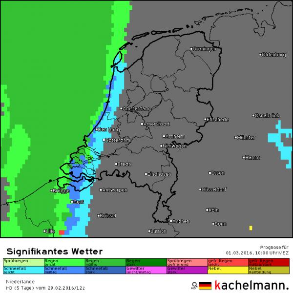 De eerste neerslag valt rond de klok van 10 uur in het westen. Bron: HD model Kachelmannwetter.com