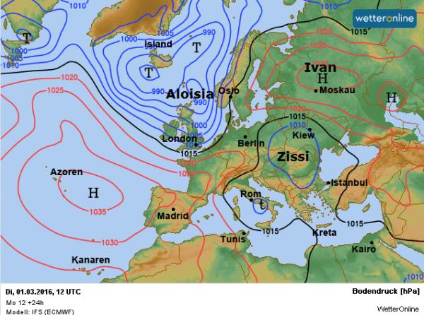 De weerkaart voor vandaag volgens EC.