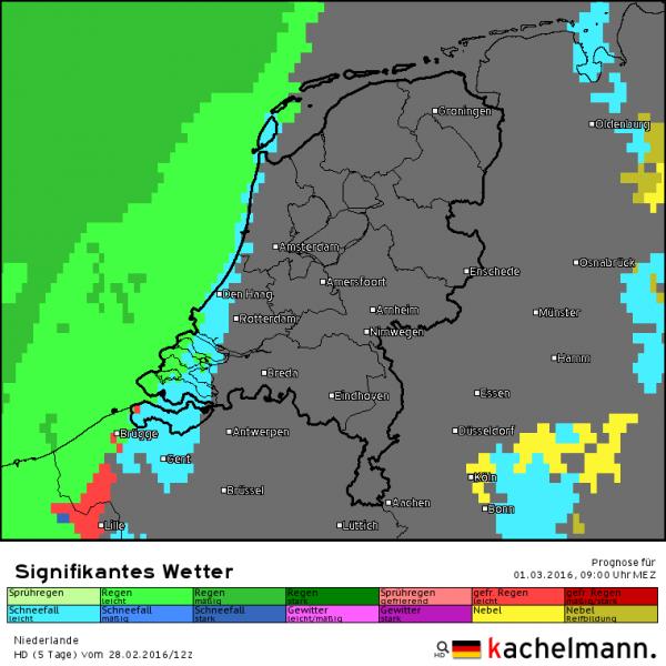 Rond de klok van 9 uur morgen zal de eerste neerslag in het westen vallen in de vorm van sneeuw. Bron: HD model van Kachelmannwetter.com