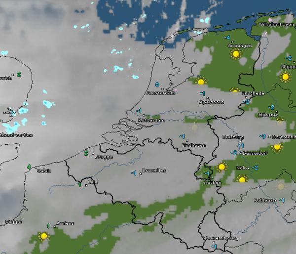 Radar- en satellietbeeld van vanochtend 8:15 uur. Bron: WetterOnline.de