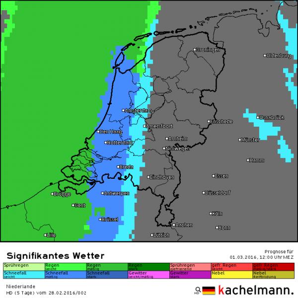Dinsdag gaat het vanuit het westen eerste een paar uur sneeuwen, alvorens het gaat regenen. Bron: Duitse HD model via Kachelmannwetter.com
