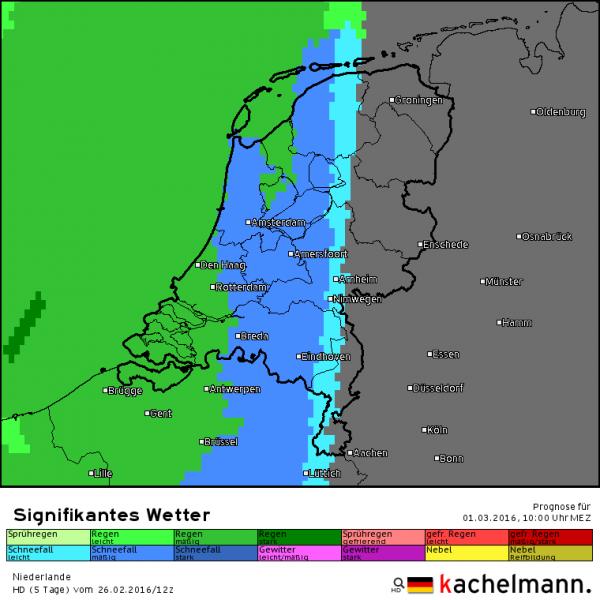 Lichte tot matige sneeuw voordat het uiteindelijk gaat regenen. Dat is de verwachting volgens het Duitse HD model van Kachelmannwetter.com