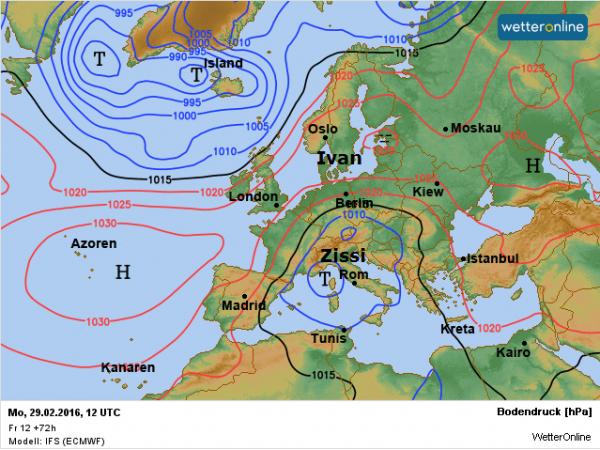 De weerkaart voor aanstaande maandag 29 februari. Depressie Zissi ligt boven de Alpen en wij profiteren van het hoog Ivan.