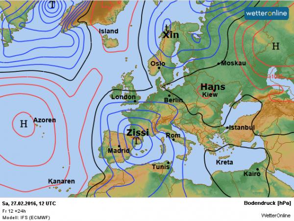 weerkaart voor deze zaterdag de 27e februari volgens EC.