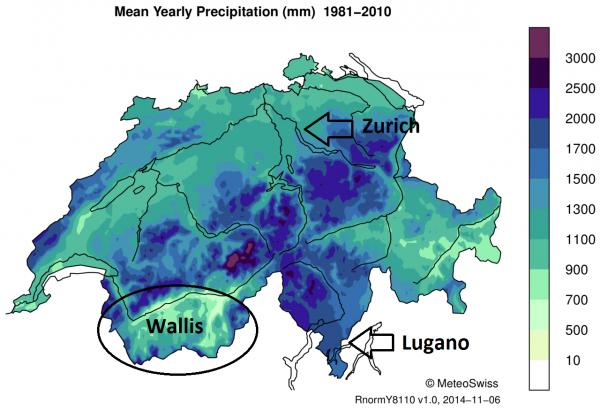 Geimiddelde jaarlijkse hoeveelheid neerslag (in mm) in Zwitserland.