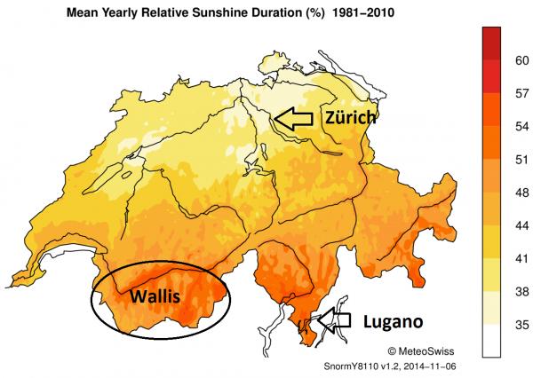 Gemiddelde jaarlijkse zonneschijnduur (in %) in Zwitserland. Bron: Meteo Schweiz.
