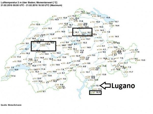 Maximumtemperatuurkaart van zondag 21 februari van Zwitserland. De omlijnde gebieden geven temperaturen boven 16 graden aan. De locatie van Lugano is aangegeven met de zwarte pijl. De temperaturen waren verre van winters!