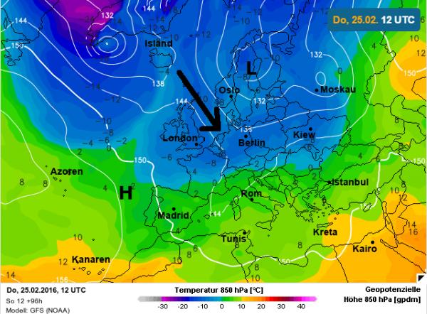 Tussen lagedruk ten noordoosten en hogedruk ten zuidwesten wordt met een noordwestelijke stroming koude lucht aangevoerd.
