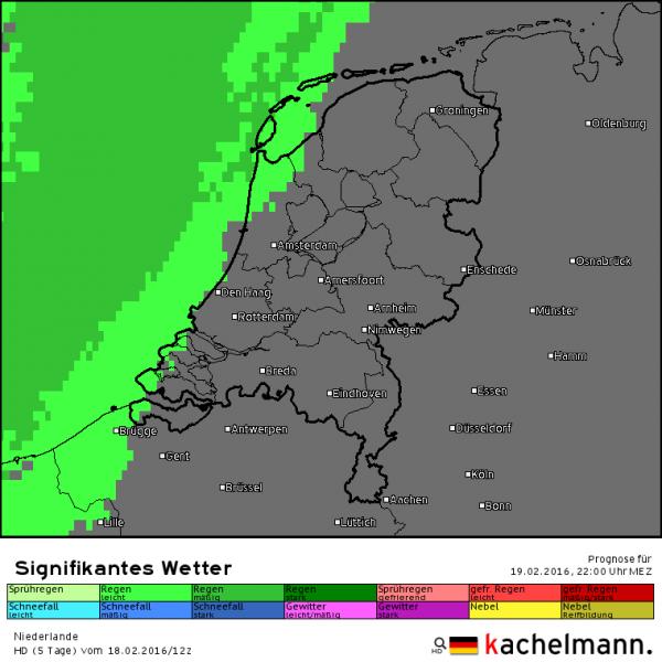 Vanavond rond de klok van 22 uur ligt het regengebied tegen de kust en is klaar om het land te veroveren. Bron: Kachelmannwetter.com