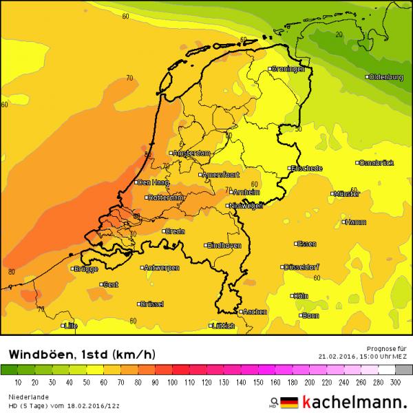 Zondag is er kans op zware windstoten tot 80 km/uur. Bron: Kachelmannwetter.com