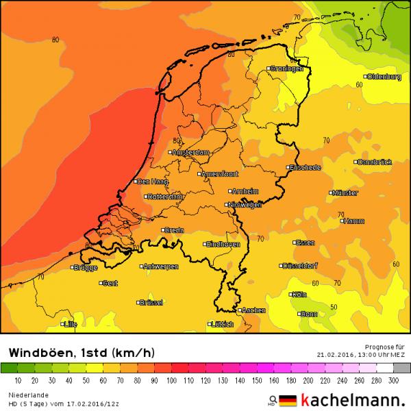 Zondag worden er zware windstoten verwacht tot 90 km/uur. Bron HD model via Kachelmannwetter.com